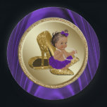 "Purple Gold Baby Shower Paper Plates<br><div class=""desc"">Purple and gold baby shower paper plates with adorable African American baby girl wearing a pretty purple tutu and gold high heel shoes. These cute purple and gold baby shower paper plates are easily customized with text.</div>"