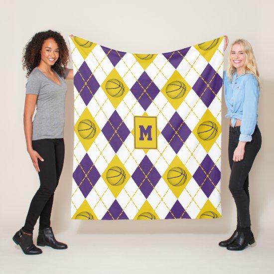 purple gold basketball team colors argyle fleece blanket