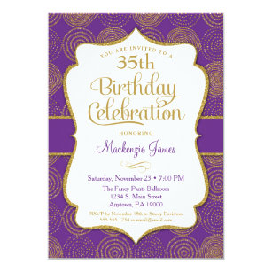 Purple 20th birthday party invitations announcements zazzle purple gold birthday invitation adult party filmwisefo Images
