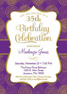 Purple party 30th birthday invitations announcements zazzle purple gold birthday invitation adult party filmwisefo