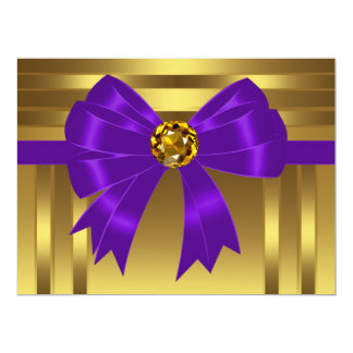 Purple Gold Birthday Party Invitations