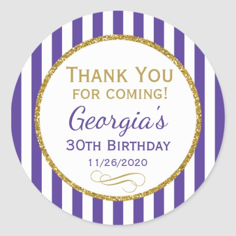 Purple Gold Birthday Thank You For Favor Tags