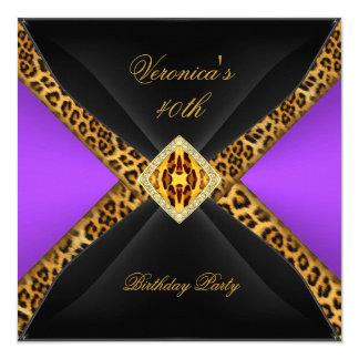 Purple Gold Black Leopard Jewel 40th Birthday Card
