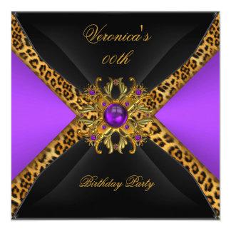 Purple Gold Black Leopard Jewel Birthday Party Card
