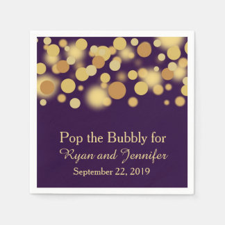 Purple Gold Bokeh Personalized Wedding Napkins Paper Napkins