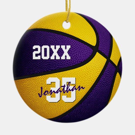 purple gold boys girls school colors basketball ceramic ornament