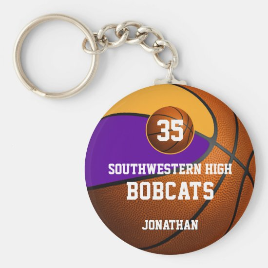 Purple gold boys' sports basketball team spirit keychain