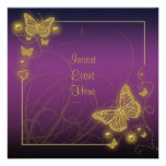 Purple gold butterfly black swirls personalized invites