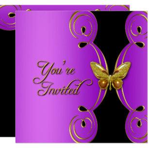 Purple Gold Butterfly Elegant Birthday Party Invitation