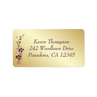 Purple, Gold Butterfly Floral Return Address Label