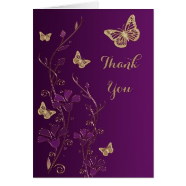 Purple, Gold Butterfly, Floral Thank You Note Card