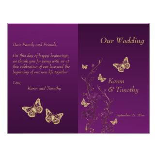 Purple, Gold Butterfly Floral Wedding Program