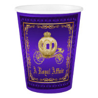 Purple Gold Carriage Royal Party Event Paper Cup
