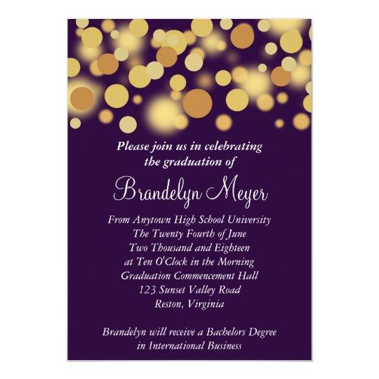 purple gold celebration graduation announcement zazzle com