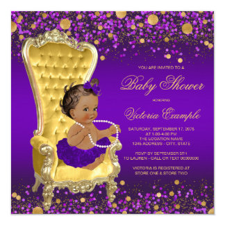 Purple Gold Chair Ethnic Ballerina Baby Shower Card