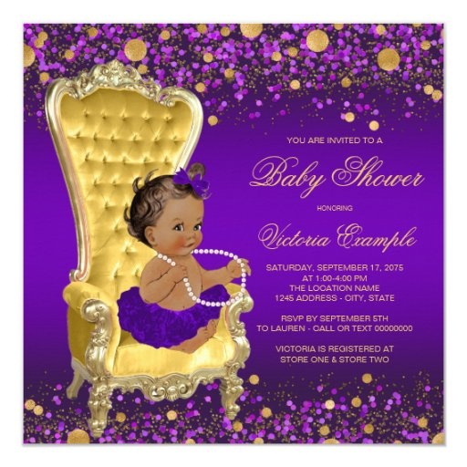 Purple Gold Chair Ethnic Ballerina Baby Shower Card | Zazzle