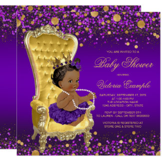 Purple Gold Chair Ethnic Princess Baby Shower Card