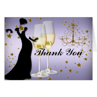 Purple gold champagne & chandelier Thank You Card