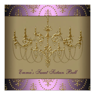 Purple Gold Chandelier Classy Sweet Sixteen Ball 5.25x5.25 Square Paper Invitation Card