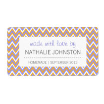 Purple Gold Chevron Homemade Canning Baking Gift Label