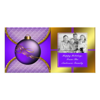 Purple Gold Christmas Ornament Photo Card