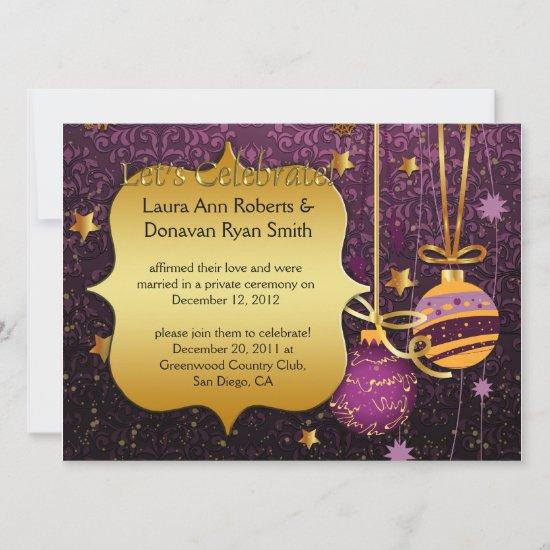 Purple Gold Christmas Post Wedding Invitation