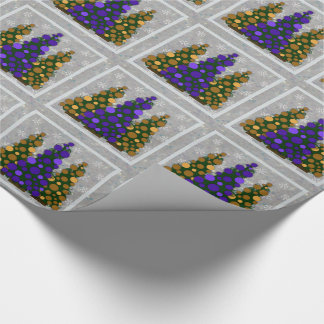 Purple & Gold Christmas Tree Wrapping Paper