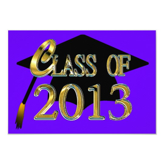 Purple & Gold Class Of 2013 Graduation Invitations