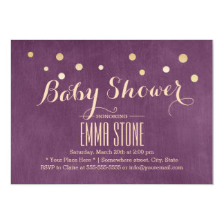 Purple & Gold Confetti Dots Baby Shower Card