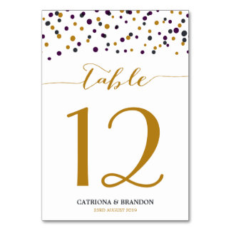 Purple & Gold Confetti Dots Modern Card