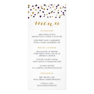 Purple & Gold Confetti Dots Modern Menu Card