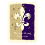 Purple Gold Confetti Fleur de Lis event Invitation
