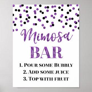 Purple Gold Confetti Mimosa Bar Sign Wedding
