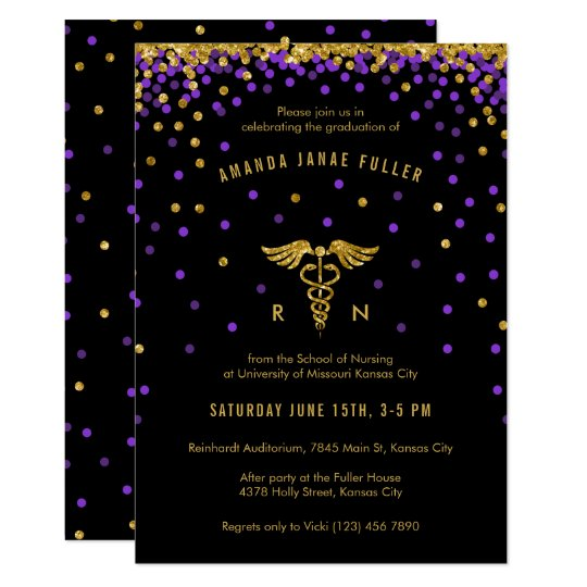Purple Gold Confetti Nurse Graduation Invitation