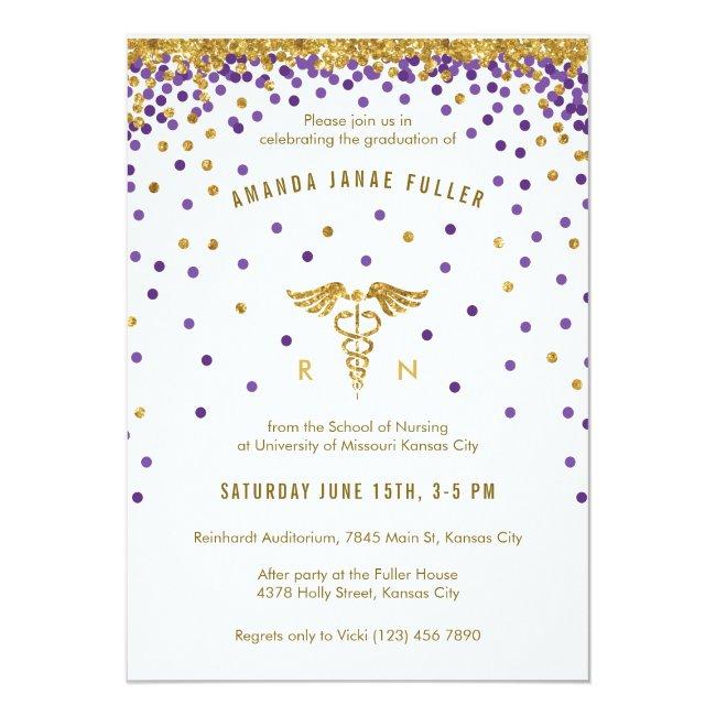 Purple & Gold Confetti Nurse Graduation Invitation