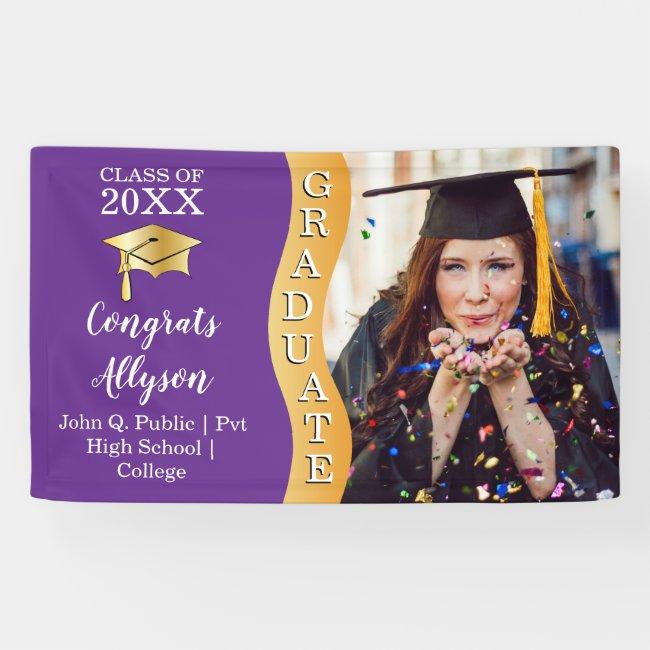 Purple | Gold Congrats Graduate Wave Photo Banner