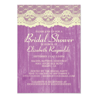 Purple Gold Country Lace Bridal Shower Invitations Custom Announcement