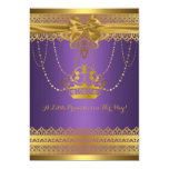 Purple & Gold Crown Baby Shower Invitation