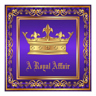 Purple Gold Crown Royal Birthday Corporate Party Card