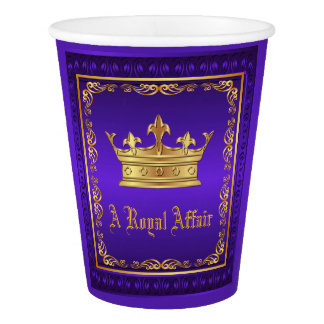 Purple Gold Crown Royal Party Event Paper Cup