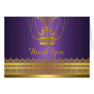 Purple & Gold Crown Thank You Card