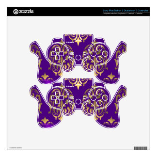Purple & gold damask decal for PS3 controller