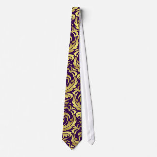 Purple & Gold Damask Holiday Christmas Tie