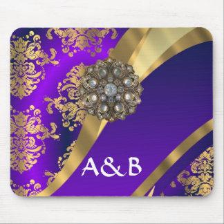 Purple & gold damask mouse pad