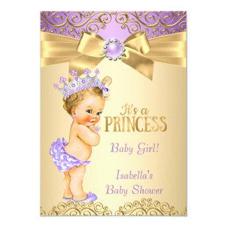 Purple Gold Damask Princess Baby Shower Blonde Card