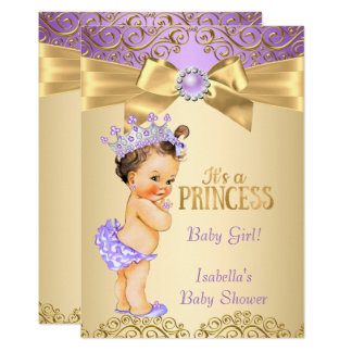 Purple Gold Damask Princess Baby Shower Brunette Card