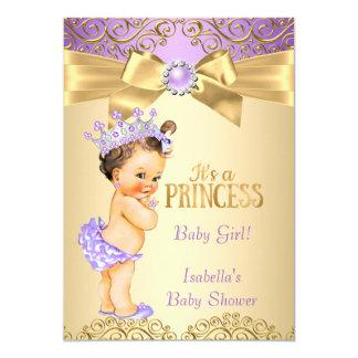Purple Gold Damask Princess Baby Shower Brunette Card