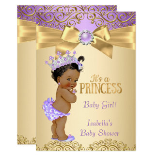 Purple Gold Damask Princess Baby Shower Ethnic Card