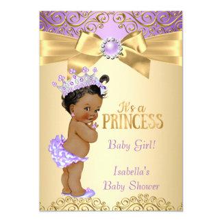Purple Gold Damask Princess Baby Shower Ethnic Card