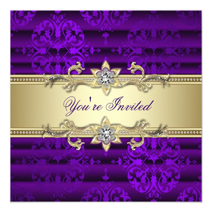 purple gold damask party invitation template purple party invitations